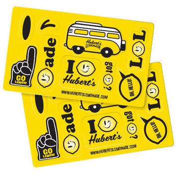 Hubert's Lemonade Sticker Sheet- 5 caps