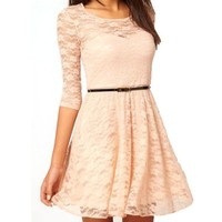 Ninimour- Women's Lace Skater Dress (M, Beige)