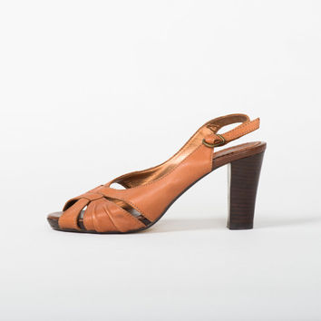 1980's Brown Peep Toe Sandals - Vintage 80's Leather Platforms Strappy 40s High Heel Criss Cross Caramel Mad Men Shoes Size 39 EU, 8,5 US