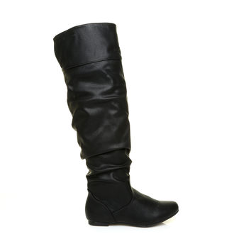 NAOMI Black PU Faux Leather Flat High Calf Knee Length Slouch Boots