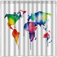 World Map Shower Curtain Funny Design 66w X