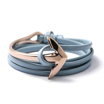Rose Gold Anchor Half-cuff On Baby Blue Leather Bracelet