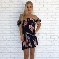 Aria Floral Shift Dress in Navy Blue