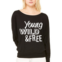 Young, Wild, and Free WOMEN'S FLOWY LONG SLEEVE OFF SHOULDER TEE