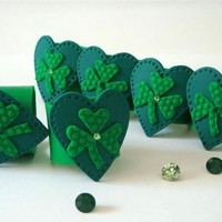 St. Patrick's Day Napkin Rings Green Shamrocks Handmade home decor