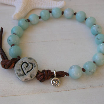 Beachy knotted bracelet, boho country chic, Bohemian jewelry, sky blue, leather, love, sundance, silver heart charm, summer spring