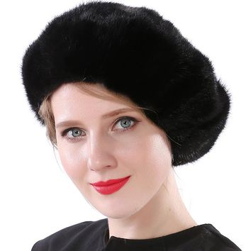 Valpeak 2017 Winter Hat Female Real Mink Fur Hat Lining Russian Fashion Furry Warm Women Beret Hat with Adjustable Buckle