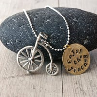 Custom Sterling Silver Necklace, Sterling Silver Bicycle, Hand Stamped Enjoy The Journey Quote on Brass Charm, Statement Traveller Gift