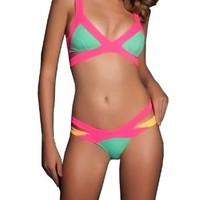 Kranda Women's Summer Beach Show Splice Bandage Swimsuit Bikini