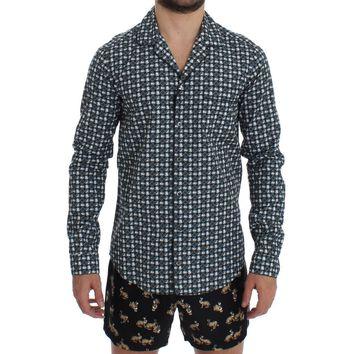 Dolce & Gabbana Green Hat Print Cotton Pajama Shirt Sleepwear