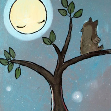 Woodland Owl Nursery Art, Kids Painting, Moon and Stars