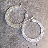 Silver Floral Hoops