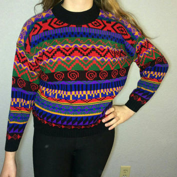 Vintage Hipster 90s Jessica Roberts Colorful Sweater