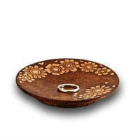 Wood burned wedding ring dish decorative wooden plate small plate with floral pattern decorated by pyrography