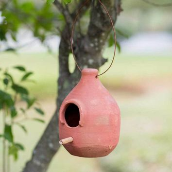 Rustic Primitive Hanging Large Terra Cotta Hanging Birdhouse Feeder Outdoor