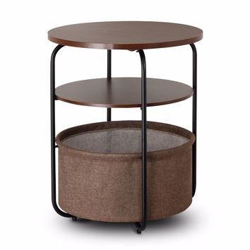 Lifewit 3-tier Round Side End Table with Storage Basket, Nightstand, Espresso,Nightstand Couch End Table Snack Coffee Desk