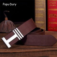 DCCKFS2 Popu`Dury High Quality PU Leather Unisex Belts Men Fashion Straps Riemen Heren Leder H Buckle Cintos Masculinos De Couro Luxo