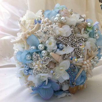 Blue Wedding Bouquet, Sea Shell Bridal Bouquet, Brooch Bouquet