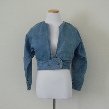 FREE usa SHIPPING vintage 1980s women's batwing blue denim  jacket, spring jacket, hipster, retro, metallic buttons size S