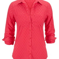 Dot Print Button Down Boyfriend Shirt - Watermelon