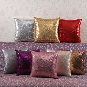 Solid Color Glitter Throw Pillow