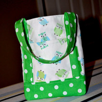 Little Girls Small Tote Polka Dots and OWLS Play Purse Green and White