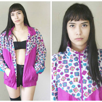 90s Neon Windbreaker Jacket / Colorblock Print Pink Hip Hop Health Goth Club Kid Athletic Oversized Nylon Windbreaker / Size L Large
