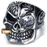 RING Punk Jewelry 316L Stainless Steel Men Skeleton Finger Band With Crystal Eye