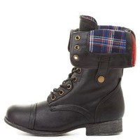 Bamboo Plaid-Lined Fold-Over Combat Boots by Charlotte Russe - Black