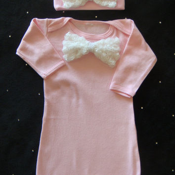 NEWBORN baby girl take home outfit complete with white rosette bow and pearls, matching beanie/hat