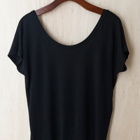 Here's The Scoop Dipped Back Tee, Black (96% modal 4% spandex)