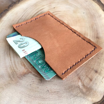 Tan Leather Card Case,Leather Card Holder,Minimalist Card Case,Boho Wallet,Leather Wallet,Leather Case,Money Clip,Leather Pouch