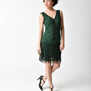 Unique Vintage 1920s Style Emerald & Black Beaded Fringe Aelita Flapper Dress