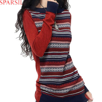 Sparsil Women's Winter&Autumn Long Sleeve Cashmere Blend Knitted Striped Pullover Sweater Fashion Female O-Neck Vintage Knitwear
