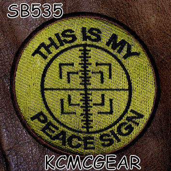 This is my Peace Sign Small Badge Patch for Vest jacket SB535