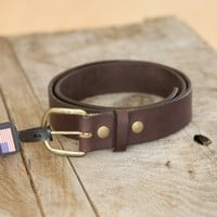 Veg Tanned Work Belt- Brown | New England Outerwear