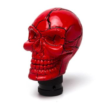 Triclicks Universal Car Interior Accessories Decoration Car Manual Gear Stick Shifter Lever Knob Wicked Carved Skull Head Shape - Red