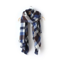 Blue Plaid Pattern Fringed Knitted Scarf