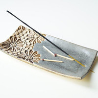 Incense Holder, Incense Burner, Grey Incense Tray, Incense Dish, Ceramics and Pottery, Handmade Incense Burner, Ceramic Dish