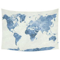 World Map Blue Cotton Linen Tapestry Wall Hanging Art