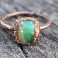 Raw Crystal Ring Chrysoprase Ring Raw Stone Ring Raw Crystal Ring Green Stone Ring Natural Stone Ring Crystals and Stones Size 7