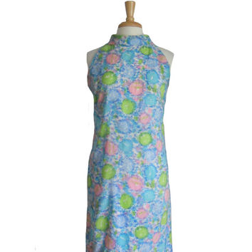 Vintage Dress 1960s Summer Dress Halter Neckline Handmade Blue Pink and Lime Green Print