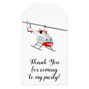 Cartoon Helicopter Thank You Party Gift Tags