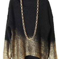 Black Batwing Gold Dipped Knit Sweater
