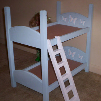 Bunk Bed made for American Girl 18 inch doll light blue with white butterfly headboard design