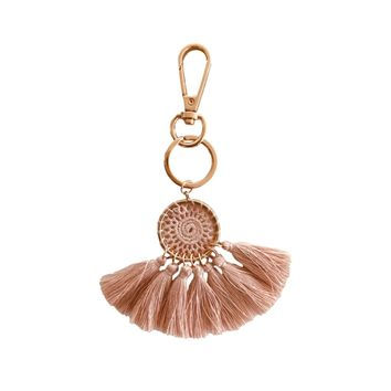 Blush Dreamcatcher Tassel Keychain and Bag Charm