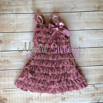 Dusty rose dress, dusty rose Lace dress, baby girl outfit, infant outfit, photo prop, special occasion dress, toddler dress, girls dress,