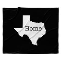 "Bruce Stanfield ""Texas State Outline"" Black White Fleece Throw Blanket"