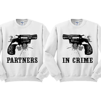 White Crewneck - SPLAT Partners In Crime - Blonde Best Friend Brunette Best Friend Sweatshirt Sweater Jumper Pullover Western Gun