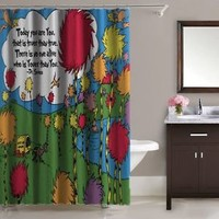 """The Lorax Dr Seuss Quote Truffula Trees Shower Curtain 60""""x72"""" Print On"""